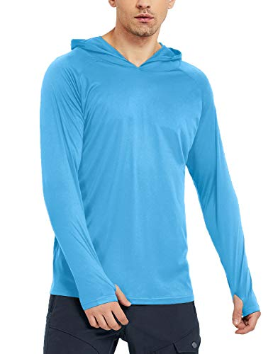 Safort Men's UPF 50+ Sun Protection Hoodie Long Sleeve T-Shirt for Running, Fishing, Hiking, Blue L