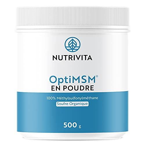 OptiMSM en Polvo 500 g | Alta Dosis de Azufre Orgánico | MSM 99,9% Puro y Sin Aditivos | Antiinflamatorio Muscular | Cuchara Dosificadora Incluida | Envasado en Francia | Nutrivita