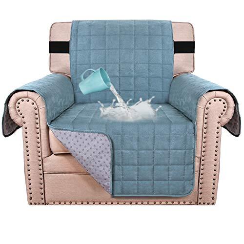 Funda de sofá 100% impermeable para sofá de terciopelo para perros, funda de sofá de piel de asiento de 58 cm de ancho con correa de 5 cm y respaldo antideslizante (silla, piedra azul)