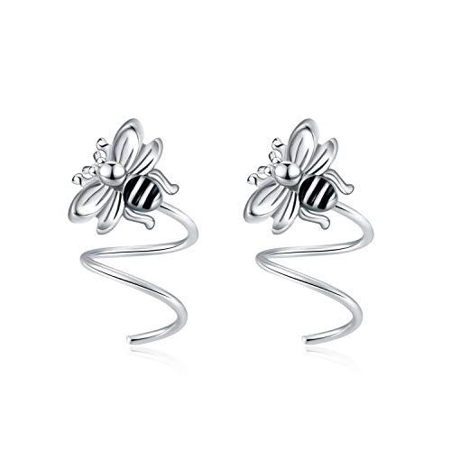 VONALA Sterling Silver Bee Ear Crawler Climber Wrap Earrings for Women Teens