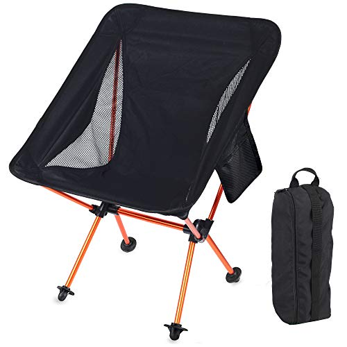 Portable Camping Backpacking Chair Ultralight Lightweight Folding Collapsible Camp Chairs with Carry Bag 300 Lbs Capacity Compact for Adults Outdoor Camp, Travel, Beach, Picnic, Hiking