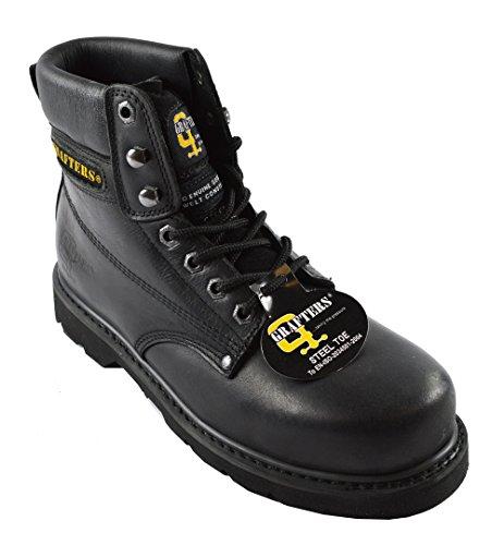 Grafters Damen schwarz Stahl Kappe spitz Leder Sicherheit Work Stiefel 43