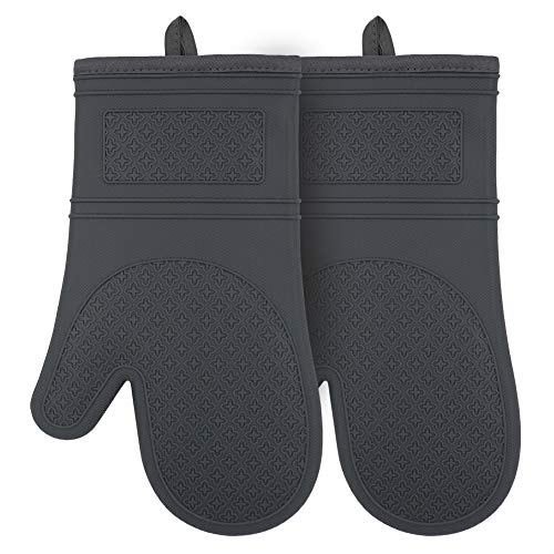 YUTAT Silicone Oven Mitts Heat Resistant Comfort Safety Kitchen Oven Gloves with Quilted Liner Professionally Protect Your Hand During Baking Doing BBQ or Carry Hot Pot-1 Pair Gray Oven Mitts