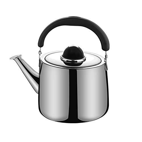 SULIVES Edelstahl Flötenkessel Wasserkocher, Teekessel für Herd, Edelstahl Wasserkessel Teekanne (4L)