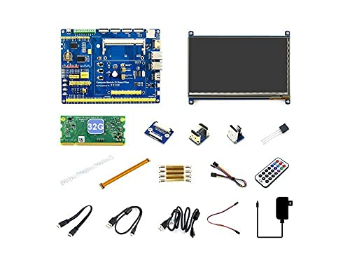 YEZIB Módulo de calculador de PI de Raspberry 3 + / 32 GB Desarrollo Tipo B, CM3 + IO Board, HDMI LCD, DS18B20, Control Remoto IR