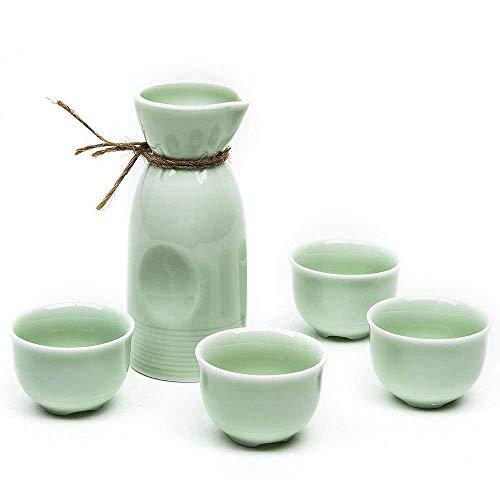 Sake-Set, traditionelles japanisches Sake-Becher-Set, handbemalt, Tassen aus Keramik, Handarbeit, Weingläser, 5 Stück Green Elegant