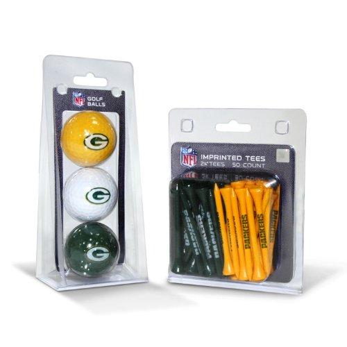 Team Golf NFL Green Bay Packers Logo gedruckte Golfbälle (3 Stück) & 6,5 cm Regulation Golf Tees (50 Stück), Mehrfarbig