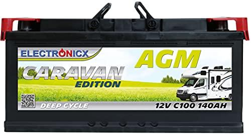AGM Batterie 12v 140Ah Electronicx Caravan Edition Solarbatterie 12v akku 12v Solar Batterien Versorgungsbatterie 12v Wohnwagen Batterie Wohnmobil Solar Akku Bootsbatterie Mover Batterie 140 Ah