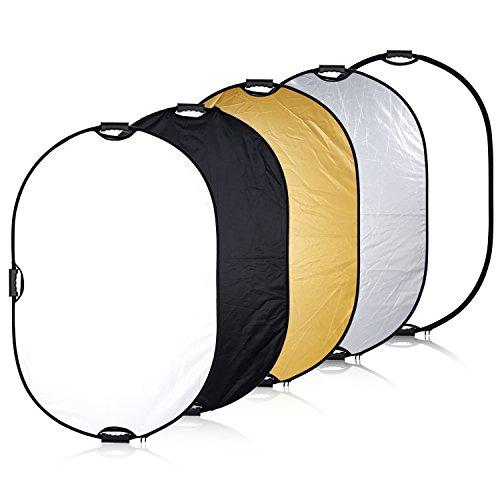 Neewer@ Tragbare 5-in-1 24x36 / 61x91cm Multi-Disc-Oval Licht-Reflektor mit 3 Handgriff für Foto-Studio-Beleuchtung & Outdoor Lighting -Translucent, Silber, Gold, Weiß und Schwarz