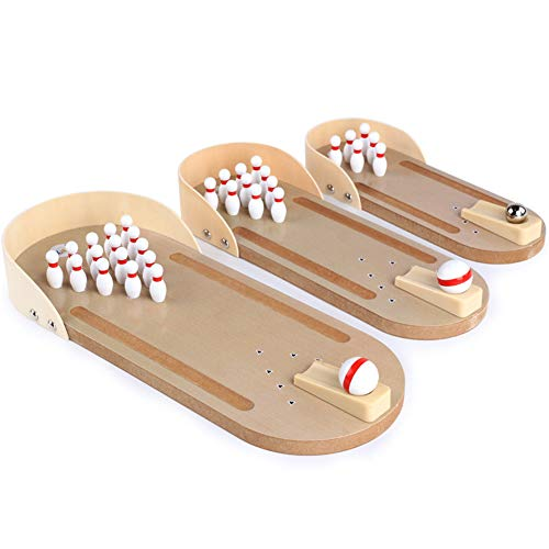 Gasfja Mini Bowling Set, Bowlingbahn Desktop Wooden Bowlingkugel Alley, Geschicklichkeitsspiel Party Spielzeug (L: 34.5 * 14.5 * 4.3 cm)