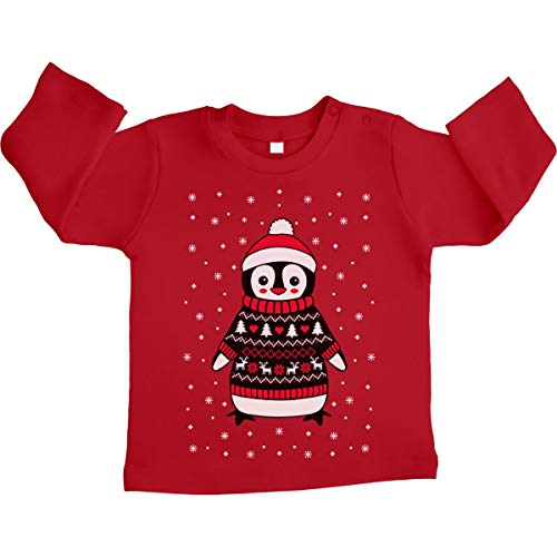 Shirtgeil Xmas Pinguin mit Rentier Weihnachtspullover Unisex Baby Langarmshirt 12-18 Monate Rot