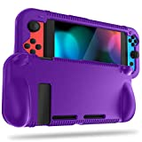 FINTIE Silicone Case for Nintendo Switch - Soft [Anti-Slip] [Shock Proof] Protective Cover with Ergonomic Grip Design, Drop Protection Grip Case for Nintendo Switch Console & Joy-Con (Purple)