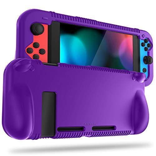 FINTIE Silikon-Schutzhülle kompatibel mit Nintendo Switch – Weiche [Anti-Rutsch] [Stoßfest] Schutzhülle mit ergonomischem Griff Design, Fallschutz Grip Case (lila)