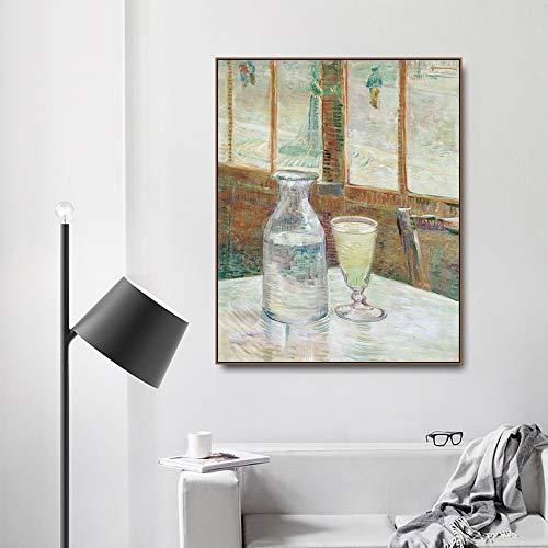 Leinwanddruck Poster Absinth von Vincent Von Gogh Poster und Leinwanddruck Gemälde Kalligraphie Wohnkultur Wandkunst Bilder für Wohnzimmer Schlafzimmer