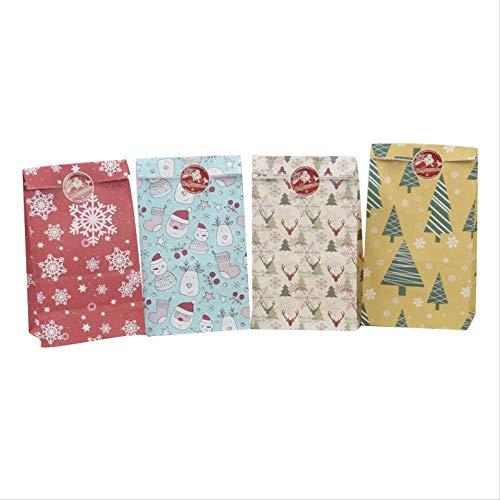 BBZZ Bolsa de papel Kraft con copos de nieve, bolsa de papel de Navidad, muñeco de nieve, árbol de Navidad, galletas, regalo de cumpleaños, 12 unidades