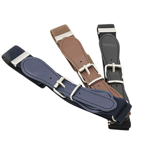 Buha Kids Adjustable Elastic Belts for Toddler with Assorted Colors, Pack of 4 Stretch Belts for Boys and Girls. (Brown, Black, and Navy Blue)