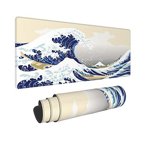 Extra Groß Mauspad mit Genähten Kanten,XXL-90 x 40 x 0.3cm,Wave Hokusai Pattern Japanischer Ukiyoed Asian Oriental Ske,Schreibtisch Mat Personalisiert für Die Arbeit Spiel Büro Computer Laptop