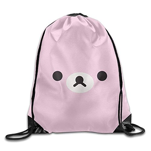 Yuanmeiju Delicious Cherry Drawstring Bag Backpack Draw Cord Bag Sackpack Shoulder Bags Gym Bag Large Lightweight Gym for Men and Women Hiking Swimming Yoga Cute Pink Bear