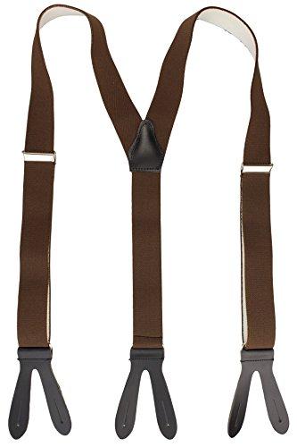 Alex Flittner Designs Hosenträger mit Lederriemen und Knopfloch braun/schwarz - Echt Lederriemen