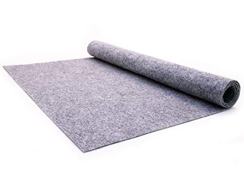 Nadelfilz Teppich-Boden RIPS MALTA B1 als Meterware - Grau, 2,00m x 3,00m, Schwer Entflammbarer, Gerippter Bodenbelag für Messe & Event