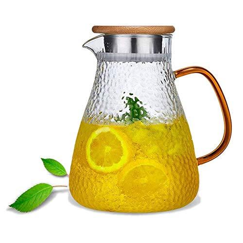 Tll-mm 1.6Liter Karaffe Glaskrug Krug Bleifreier Borosilicatglas Kessel mit Crystal Griff und Edelstahldeckel for Milch, Rotwein, Kaltes Wasser, Fruchtsaft, heißen Kaffee, Getränke usw.