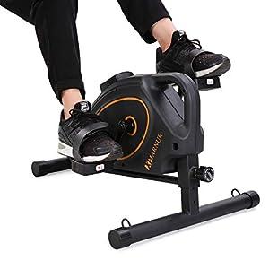 MARNUR - Mini Bicicleta Estática Pedales Estaticos Pedaleador Máquinas para Entrenamiento de Brazos y Piernas LCD Pantalla y Resistencia Ajustable