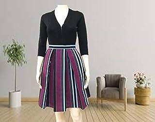 Emoltem Women's knee length Pleated Skirts (UK Size 8-Small)