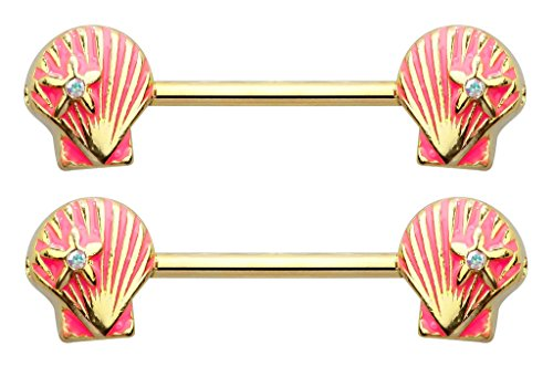 Pair of Gold & Pink Clam Sea Shell seashell Ariel nautical sea Nipple bar rings 14g