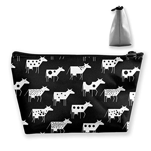 Bolsa cosmética portátil Attern con Vacas Bolsa de Almacenamiento Trapezoidal con Estampado Multifuncional para Mujer