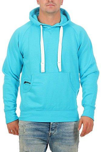 Happy Clothing Herren Pullover mit Kapuze Hoodie Pulli Kapuzenpullover, Größe:L, Farbe:Türkis
