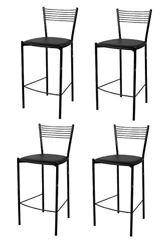 t m c s Tommychairs - Set 4 tabourets Elegance pour Cuisine, Bar et Salle à Manger, Robuste Structure en Acier peindré en Couleur Noir et Assise rembourrée et revêtue en Cuir Artificiel Couleur Noir