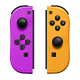 Joy-Pad Controller Compatible with Switch,Left and Right Controllers with Straps Support Wake-up Function (Purple and Orange)