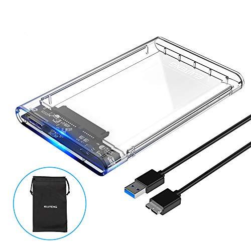 ELUTENG Caja Disco Duro 2.5 USB 3.0 6 Gbps UASP Carcasa Disco Duro de HDD SSD SATA I/II/III de 7mm 9.5mm No Requiere Herramientas con Cable USB3.0 [Transparente]