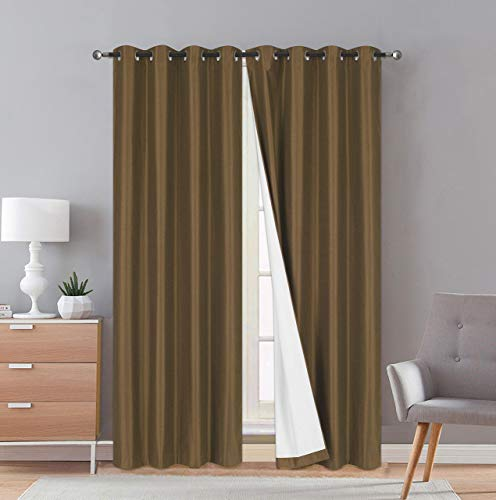 """Faux Silk Blackout Curtains - 2-Panel Sets of 54x84 Room Darkening Black Out Curtains for Bedroom - Durable Thermal Insulated, Sun and Sound Blocking Dark Window Curtain - (FS3, 84"""", Coffee/Brown)"""