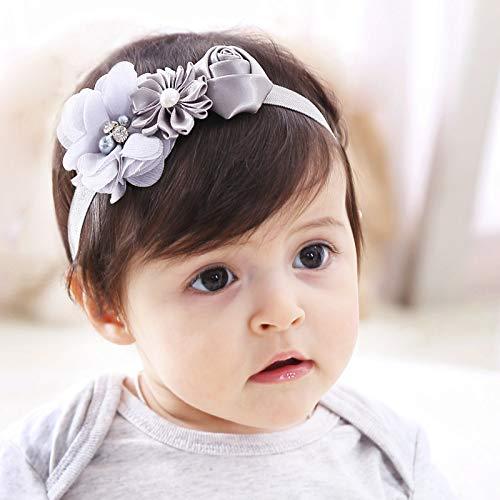 Kercisbeauty Baby Girls Flower Bows Headband Peral Lace Headwear for Toddler Babies Elastic Adjustable Head piece Wreath Halloween Holiday Sunday Headband (Ivory)