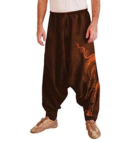 Tomatoa Herren Haremshose Baggy Pumphose Yoga Tanz Strand Hosen Freizeithose Pluderhose Aladin Pants Männer Pumphosen Pluderhose Retro Drucken Aladinhose Pluderhose (M, Brown)