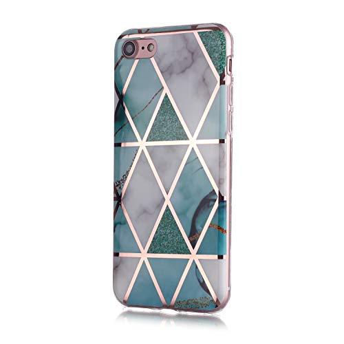Fatcatparadise für iPhone SE 2020 Hülle (4,7 Zoll) + Displayschutz, Galvanisiert Marmor Weich Silikon Handyhülle Schlank TPU Bumper Handytasche Gummi Dünn Abdeckung Schutzhülle (Grün Weiß)