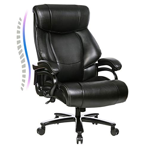 High Back Big & Tall 400lb Office Chair - Heavy Duty Metal Base and Adjustable Tilt Angle Large Bonded Leather Executive Desk Computer Swivel Chair, Ergonomic Design for Lumbar Support Black