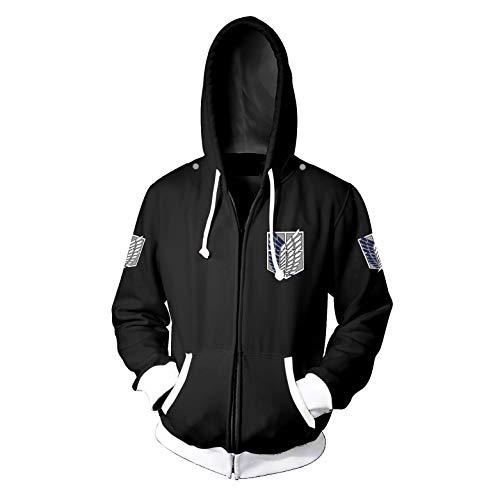 Memory meteor Attack on Titan Hoodie Cosplay Jacke Costume Long Sleeve Hoodies Sweater Jackets Coats,Negro,XL