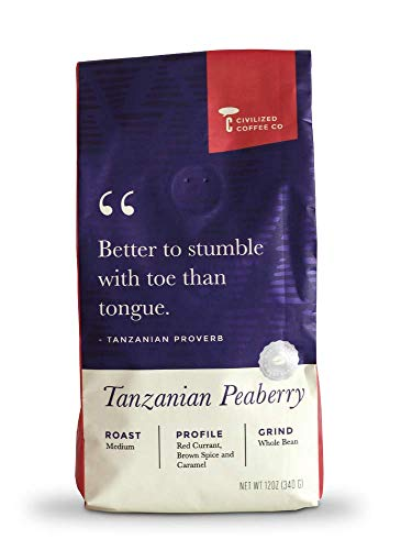 Civilized Coffee Tanzanian Peaberry Whole Bean Arabica Coffee Medium Roast, Premium Gourmet Coffee (12oz bag)