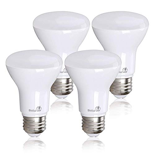 Bioluz LED Lights BR20 R20 Dimmable LED Light Bulbs 4 Pack - Flood Light Bulbs Indoor/Outdoor 7W=50W 500 Lumen E26 LED Bulb Replacement for Halogen Bulb - 3000K LED Bulb LED Flood Light Bulbs Indoor