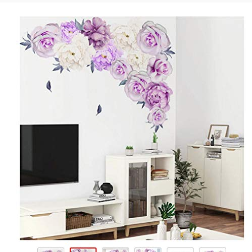Peony Rose Flowers Etiqueta De La Pared Art Nursery Decals Habitación De Los Niños Decoración Del Hogar Regalo Pvc Etiqueta De La Pared Purple Peony Home Decor60 X 60cm