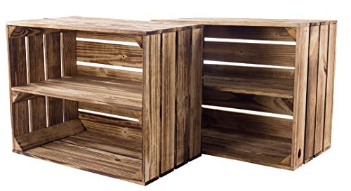 Kontorei® gebrannte/flambierte Obstkiste mit Zwischenboden 50cm x 40cm x 30cm 2er Set Regal Holzregal Kiste Box