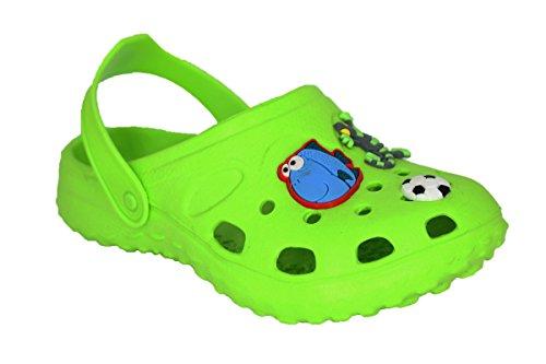buyAzzo Zuecos de EVA para niños y niñas, zapatillas de estar por casa, para el jardín, para el tiempo libre, con correa en el talón BA031, color Verde, talla 27 EU