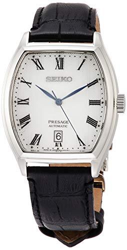 [セイコーウォッチ] 腕時計 プレザージュ メカニカル トノー型 ホワイト文字盤 カーブサファイアガラス シースルーバック SARY111 メンズ ブラック