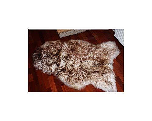 Meryno - White brown sheepskin rug natural soft carpet - large