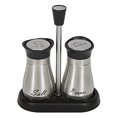 Evelyne GMT-10406 Stainless Steel Glass Bottom Casing Salt and Pepper Shakers Set with Tray and Letter Initial