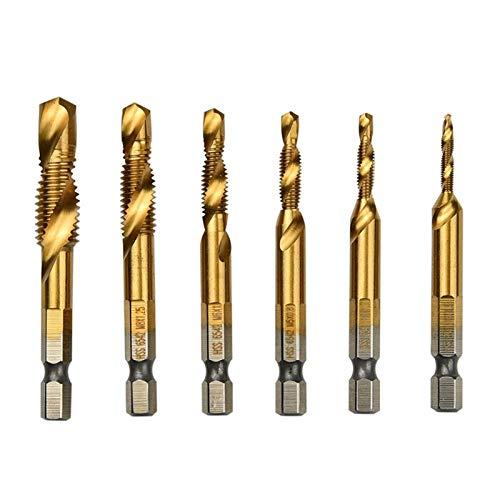 PACPL 6Pcs M3-M10 Screw Tap Drill Bits HSS Deburring Tapping Set Metric Hex High Speed Steel Titanium Coated Drill Bit Hand Tools (Color : 6PCS)