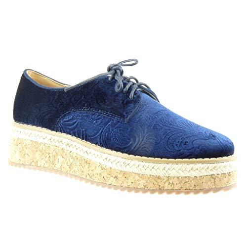 Angkorly - Zapatillas Moda Zapato Derby Alpargata Plataforma Mujer Flores Corcho Plataforma 5 CM - Azul FD298 T 39