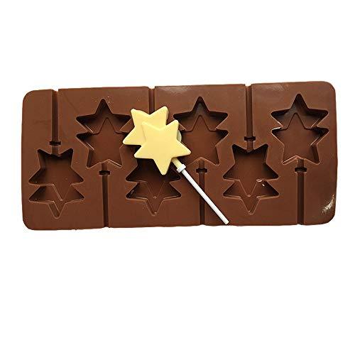 WangWDN Pentagram Siliconen Lollipop Mould Silicone Mould Hoge Temperatuur Chocolade Mould Stuur Originele Stick 6